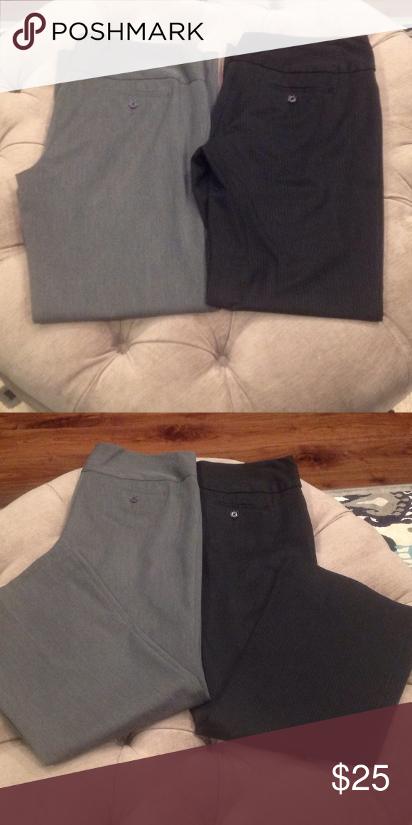 "***LOT of 2 Dress Pants*** These are a size 6 short. I'm 5'4"" and could easily wear them with flats or a mini heel. One pair is solid gray, the other is black with white pinstripes. Gently loved, but great used condition! Express Pants"