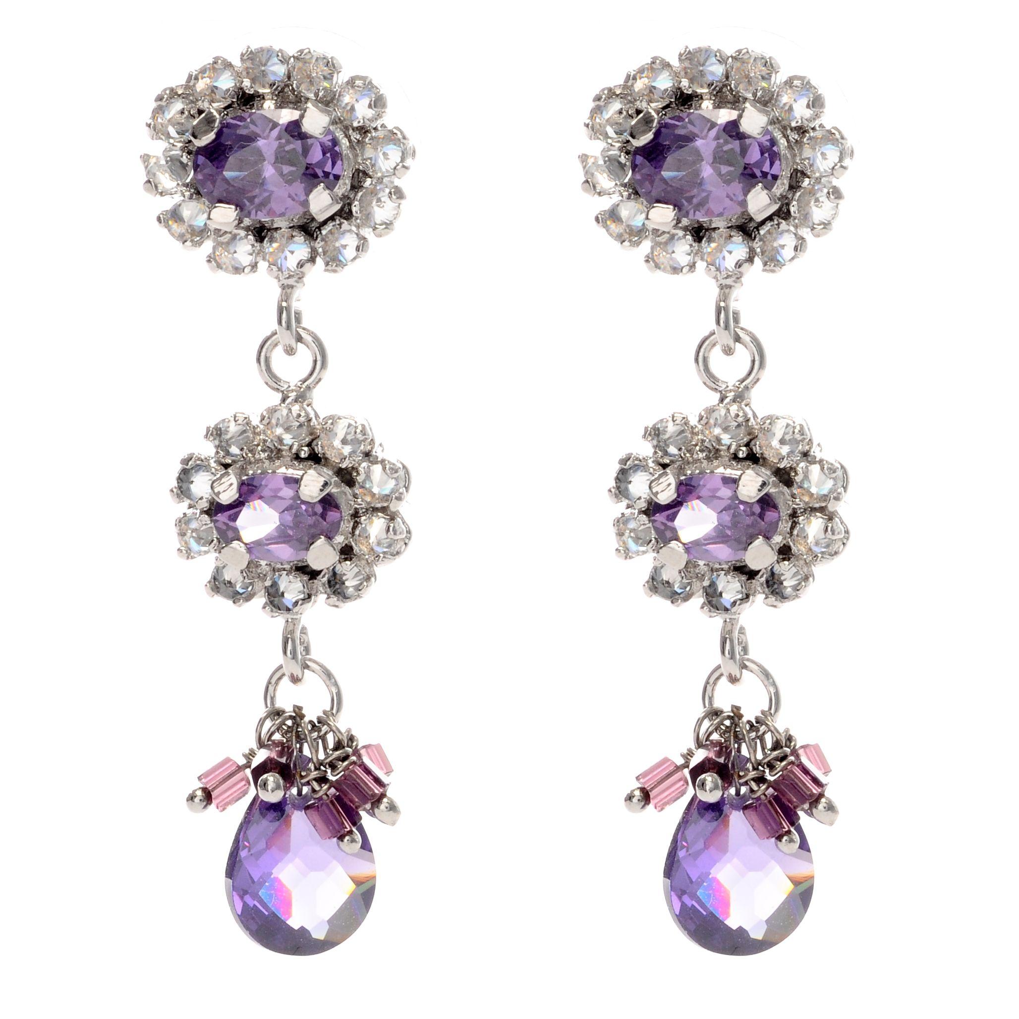 Purple Wedding Ideas With Pretty Details: Beautiful And Pretty Purple Bridesmaid Diamond Earrings