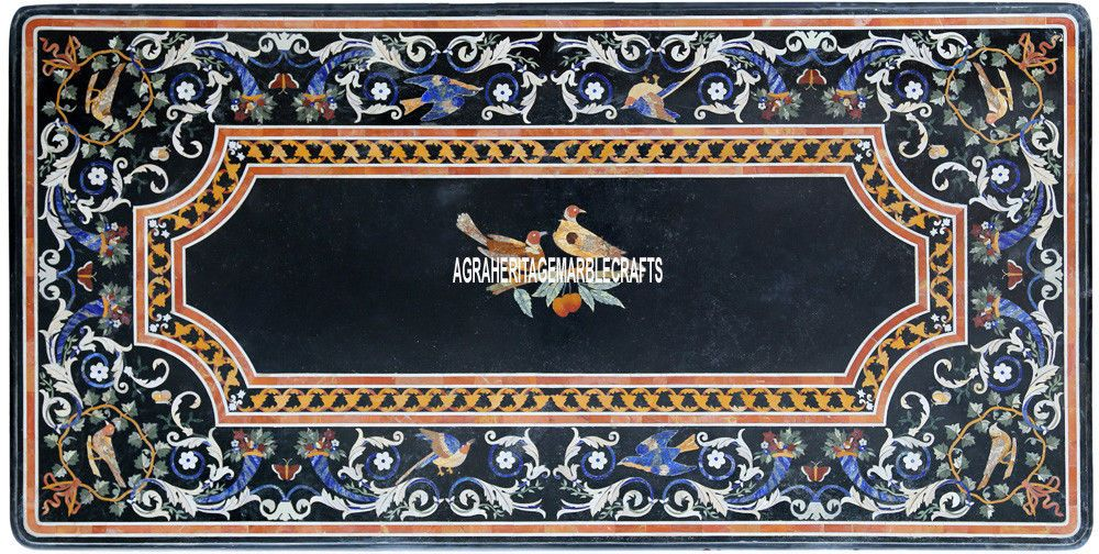6x3 black italian marble restaurant table top pietradura inlay decor art h3858 - Marble Restaurant Decor