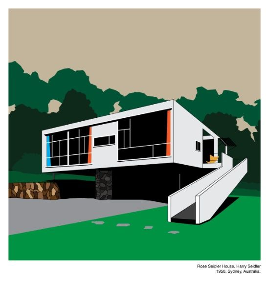 Modern Architecture Prints rose seidler house, harry seidler – modern architecture series art