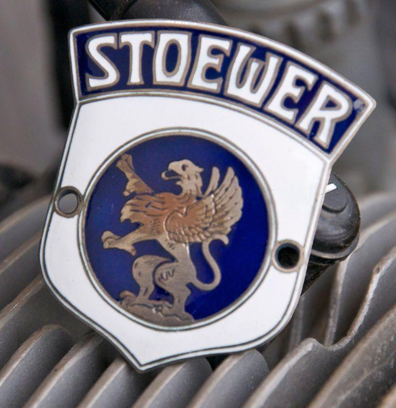 GERMAN ENAMEL CAR BADGE / EMBLEM AUTOMOBILE STOEWER