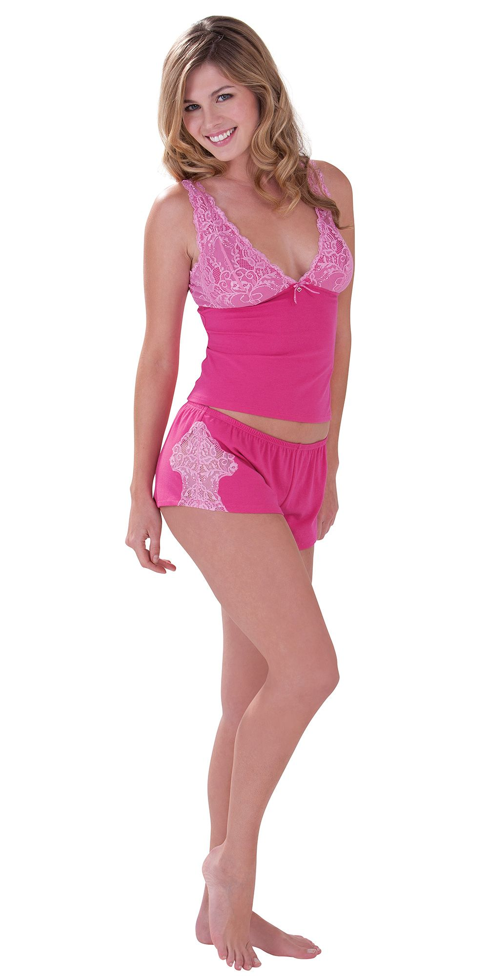 97d236240f22 Hot Pink Lacey Short Set - Pajamas from PajamaGram.  79.99  Flirty  Pajamas