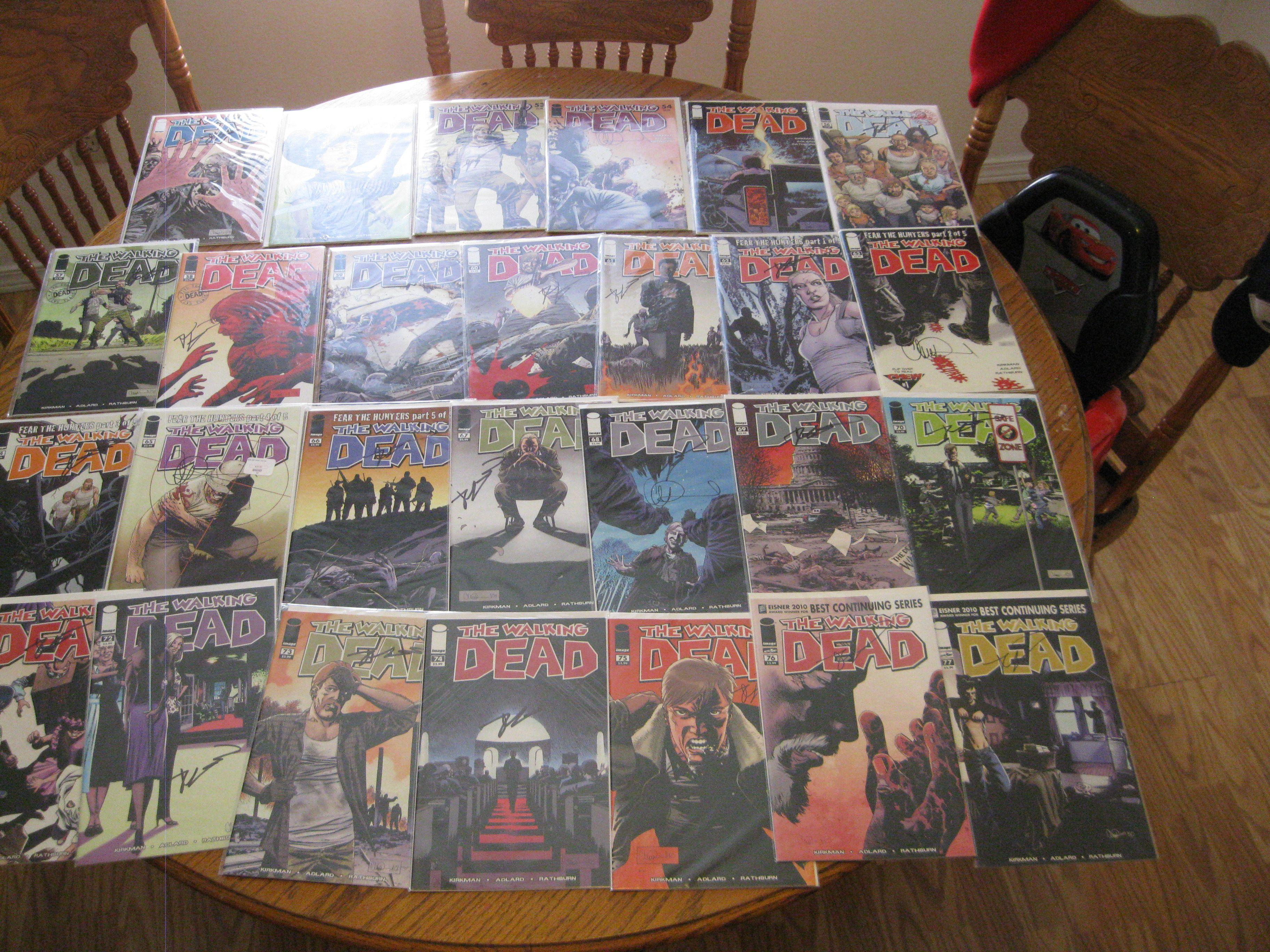 Complete Set First Print Walking Dead Comics 1 159 All Signed Walking Dead Comics Dead Signs