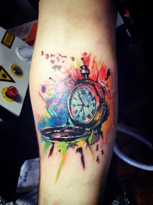 f5dcfbe7f colorful-pocket-watch Body Art Tattoos, Clock Tattoos, Top Tattoos, Baby