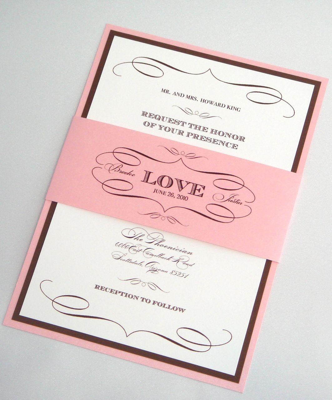 Brooke Vintage Wedding Invitation with Belly Band Sample - Brown ...
