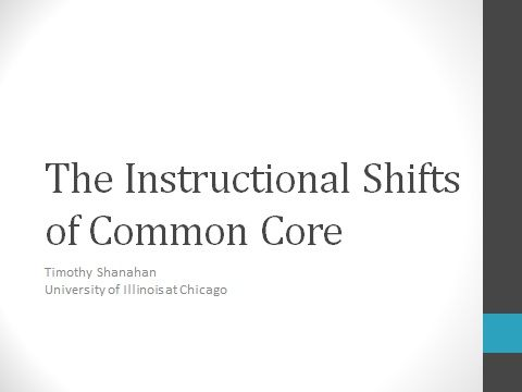 Dr Timothy Shanahan Addresses The Topic Of Instructional Shifts