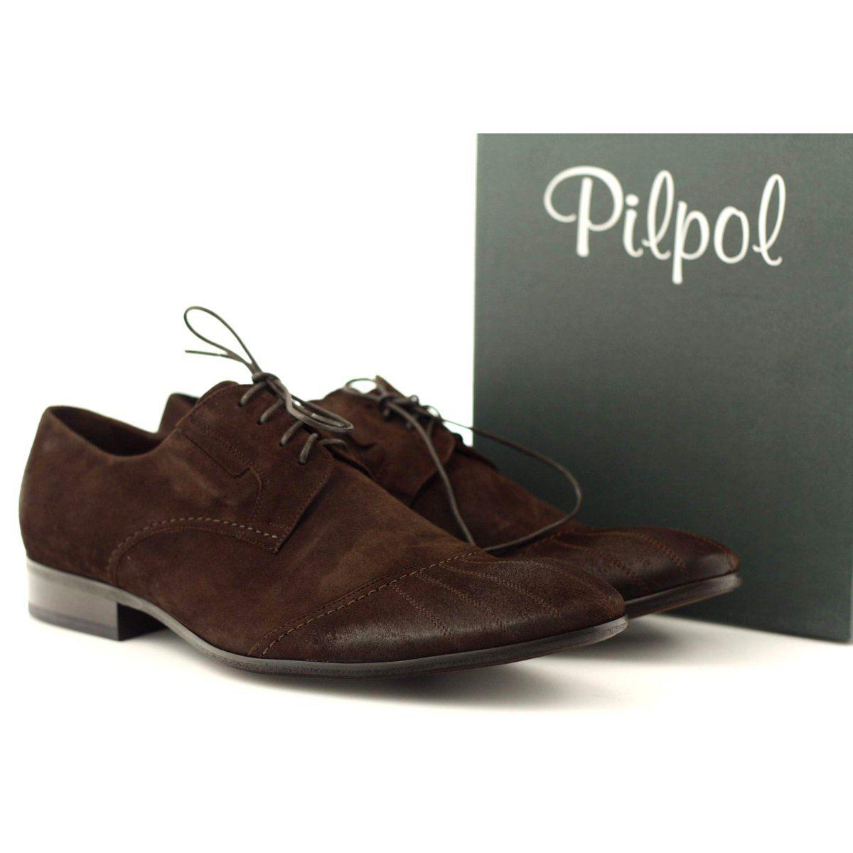 Polbuty Buty Skorzane Nubukowe Pilpol 1122 Brazowe Wielokolorowe Dress Shoes Men Shoes Elegant Heels
