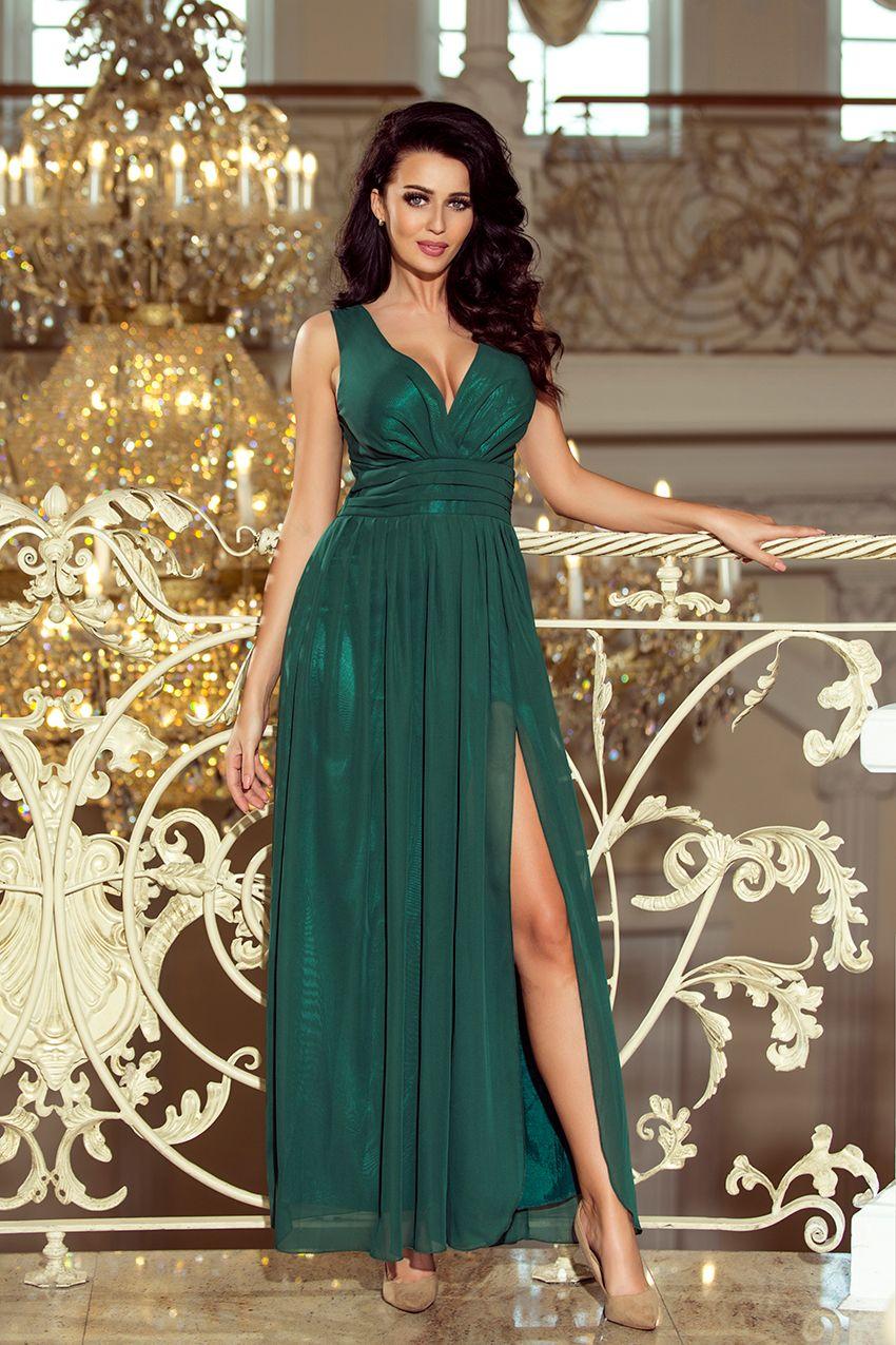 5ca3a11370 Zielona maxi szyfonowa sukienka z dekoltem i rozcięciem - hit  www.numoco.sklep.pl