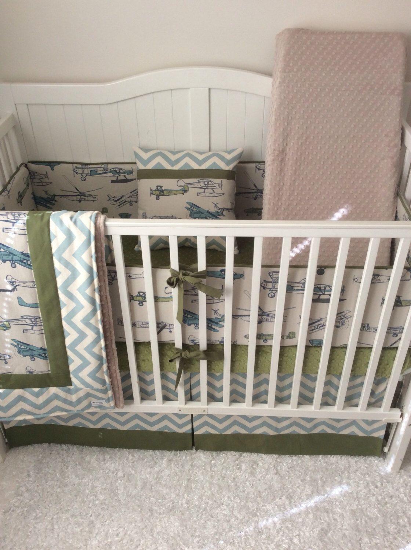 Baby Boy Crib Bedding Vintage Airplanes Khaki Green And Blue
