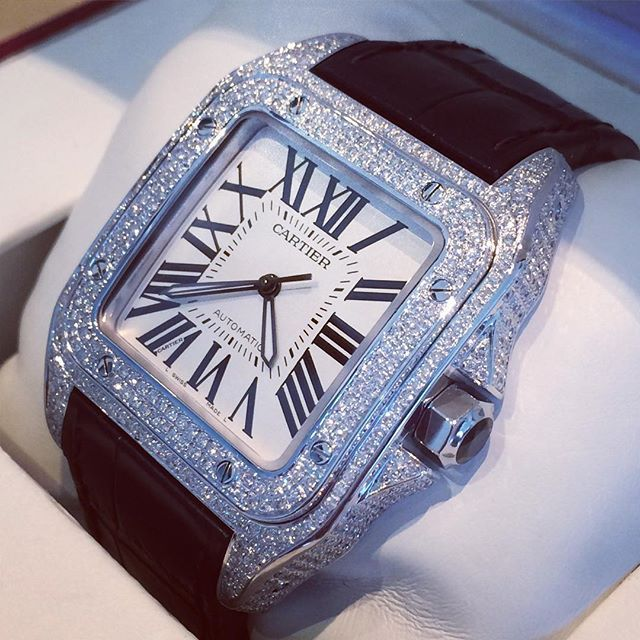808e086fc2c Cartier Santos 100XL ⌚ 18k White Gold and Diamond case ...