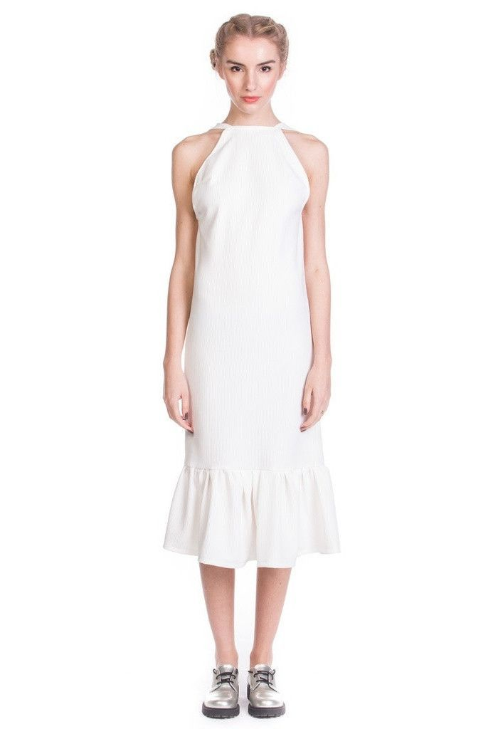 White Backless Ruffl Halter Dress / Detachable ruffle belt