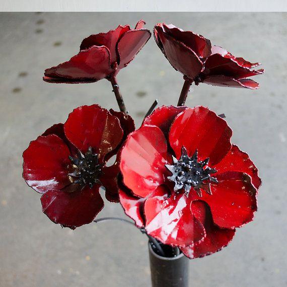 Metal poppy flower arrangement - Industrial flower bouquet - Metal ...