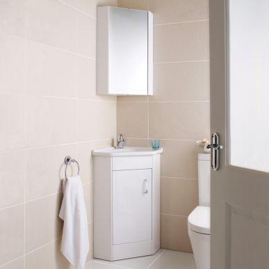 Ultra Design Cloakroom Corner Basin Vanity Unit Corner Mirror Cabinet Banyo Modern