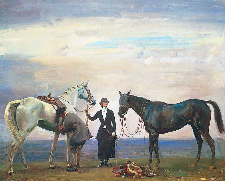 Sir Alfred Munnings Changing Horses With Images Horse