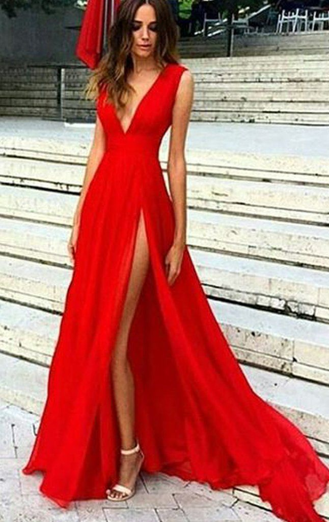 8b32745c9da0 MACloth Deep V Neck Chiffon Long Prom Dress Sexy Formal Evening Gown  Gorgeous Wedding Party Dress