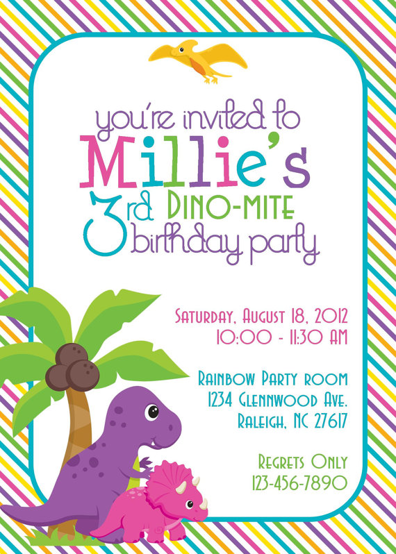 girl dinosaur birthday party invitations - set of 12 | little girl, Birthday invitations