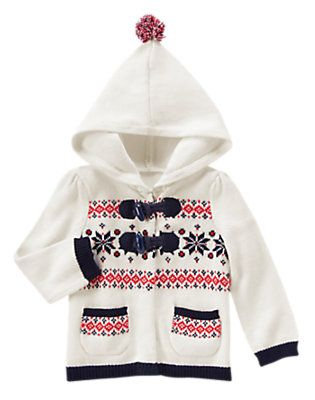 12.99Toddler Girls Ivory Fair Isle Fair Isle Hooded Sweater by ...