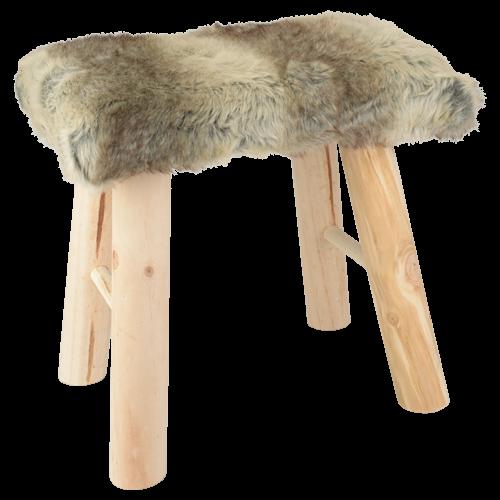 EUR 1395 kruk imitatie bont hout 38x28x38cm bont