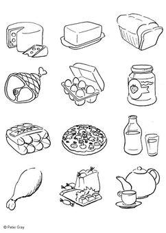 Kleurplaat Voeding Alimentos Para Colorear Hojas Para