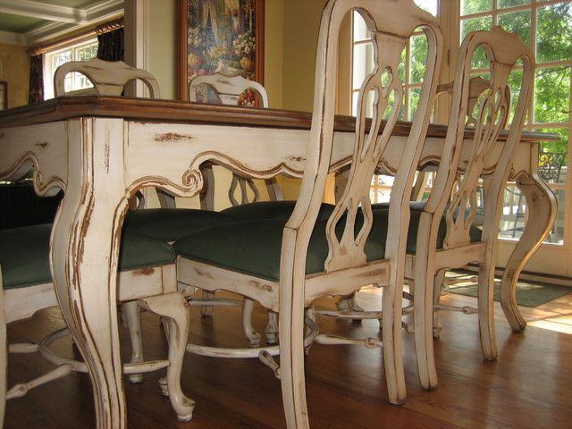 Handpainted Distressed And Stained Table Chairs Traditional Kitchen