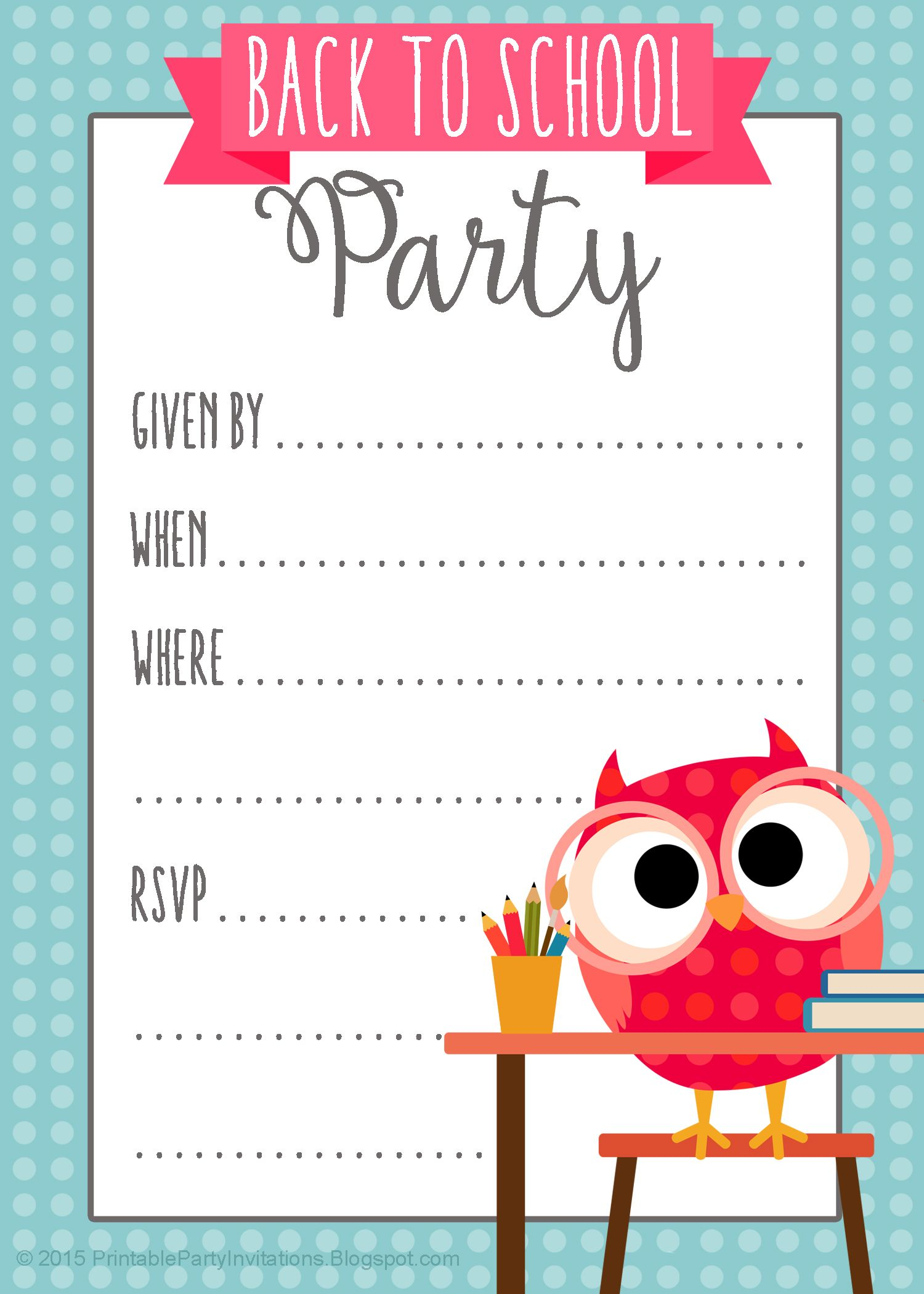 FREE Printable Back to School Party Invitation Party