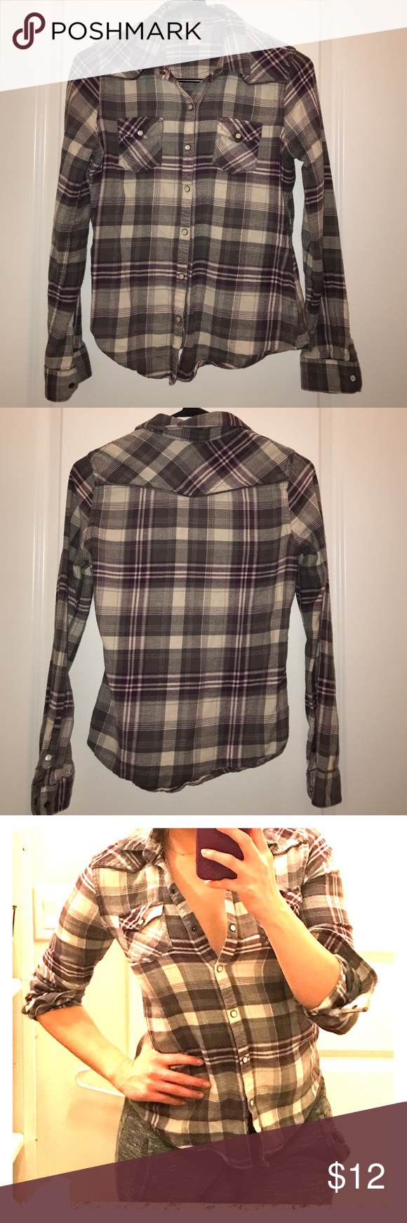 Mossimo Flannel Top Pearl snap flannel. Fitted and cute. Great condition. Not irregular fit... just wrinkly sorry Mossimo Supply Co Tops Button Down Shirts