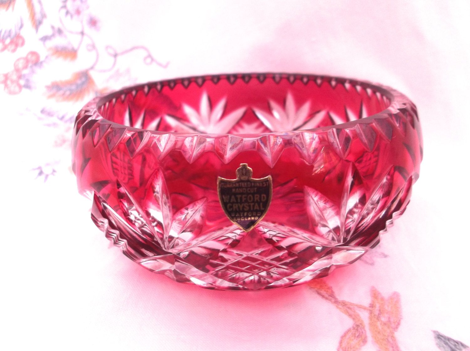 Cranberry /Ruby Cut to Clear Watford Lead Crystal Bowl with Original ...