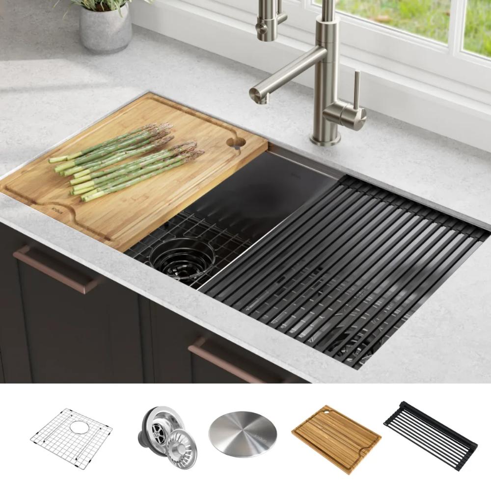 Kraus Kwu112 33 In 2020 Double Bowl Kitchen Sink Stainless Steel Kitchen Single Bowl Kitchen Sink