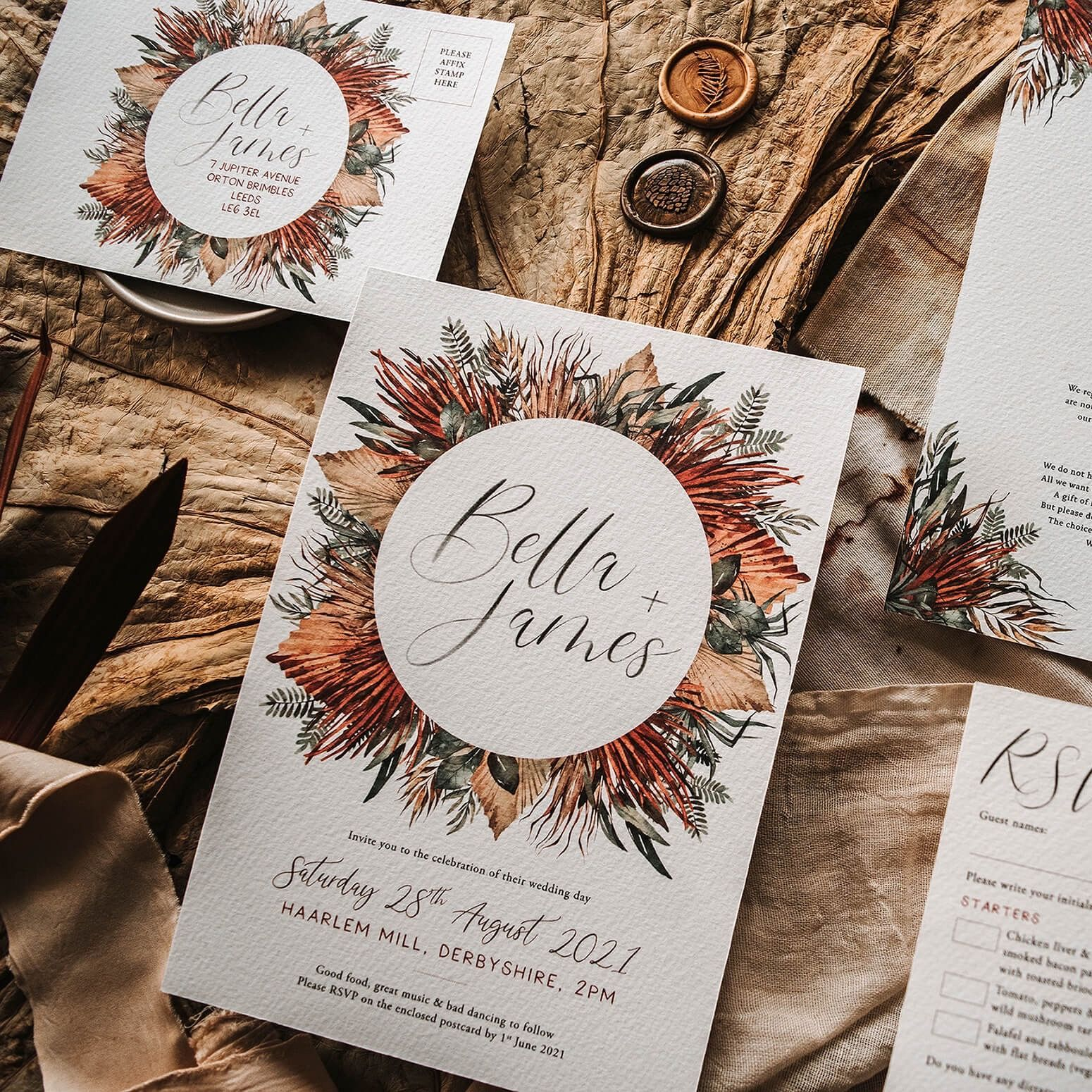Autumn Desert Floral Boho Wedding Invites Wedding Invitations Boho Fall Wedding Invitations Wedding Invitations Rustic
