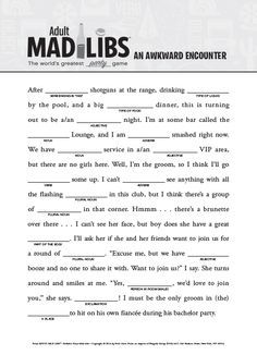 Wild image with mad libs printable for adults
