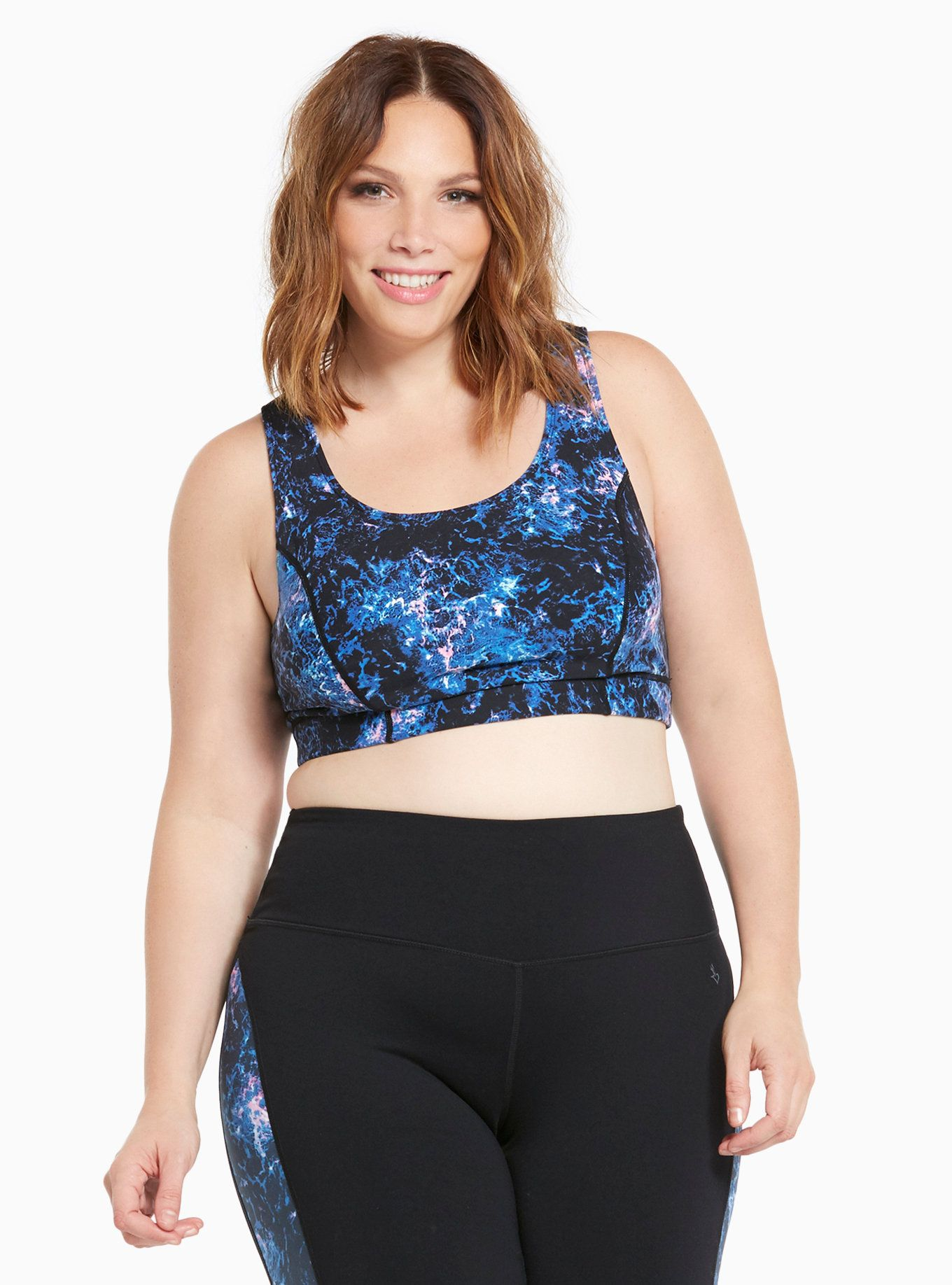 Active Abstract Print Crossback Sports Bra Plus size