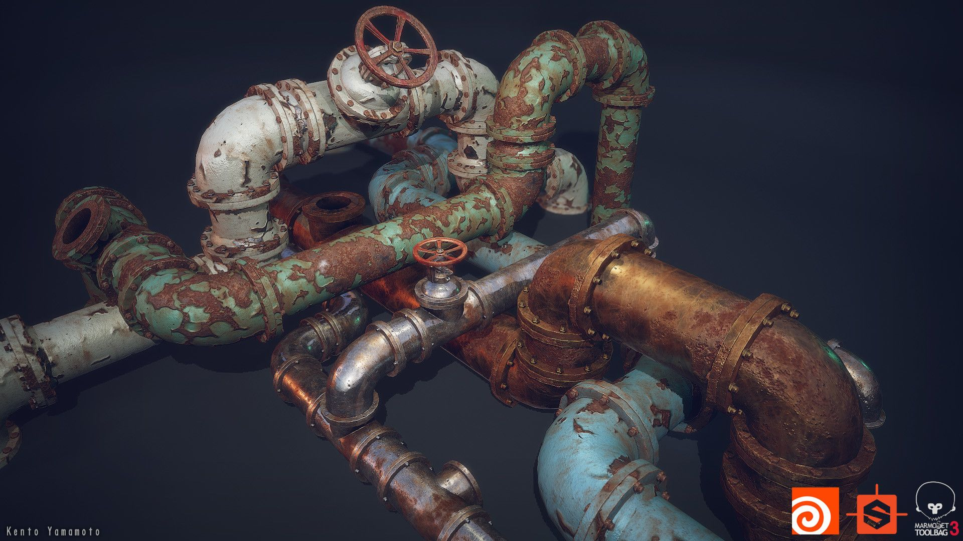 Great Procedural Pipe Model, by Kento Yamamoto Created with #Houdini