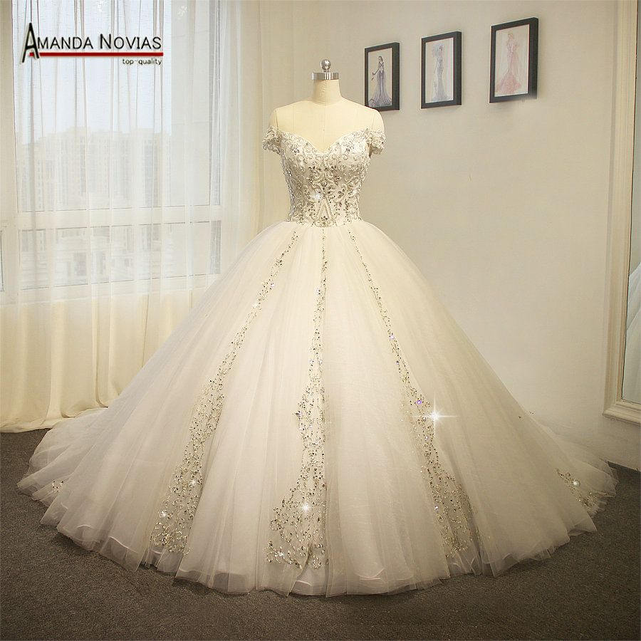 Luxury Puffy Ball Gown Real Photos Embroidery Beading Wedding ...