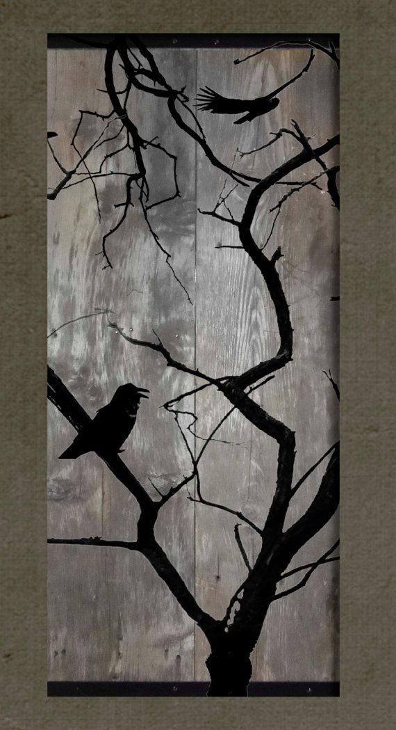 Birds on a Bare Tree - Set of 2 Paintings on Reclaimed Barn Wood ...