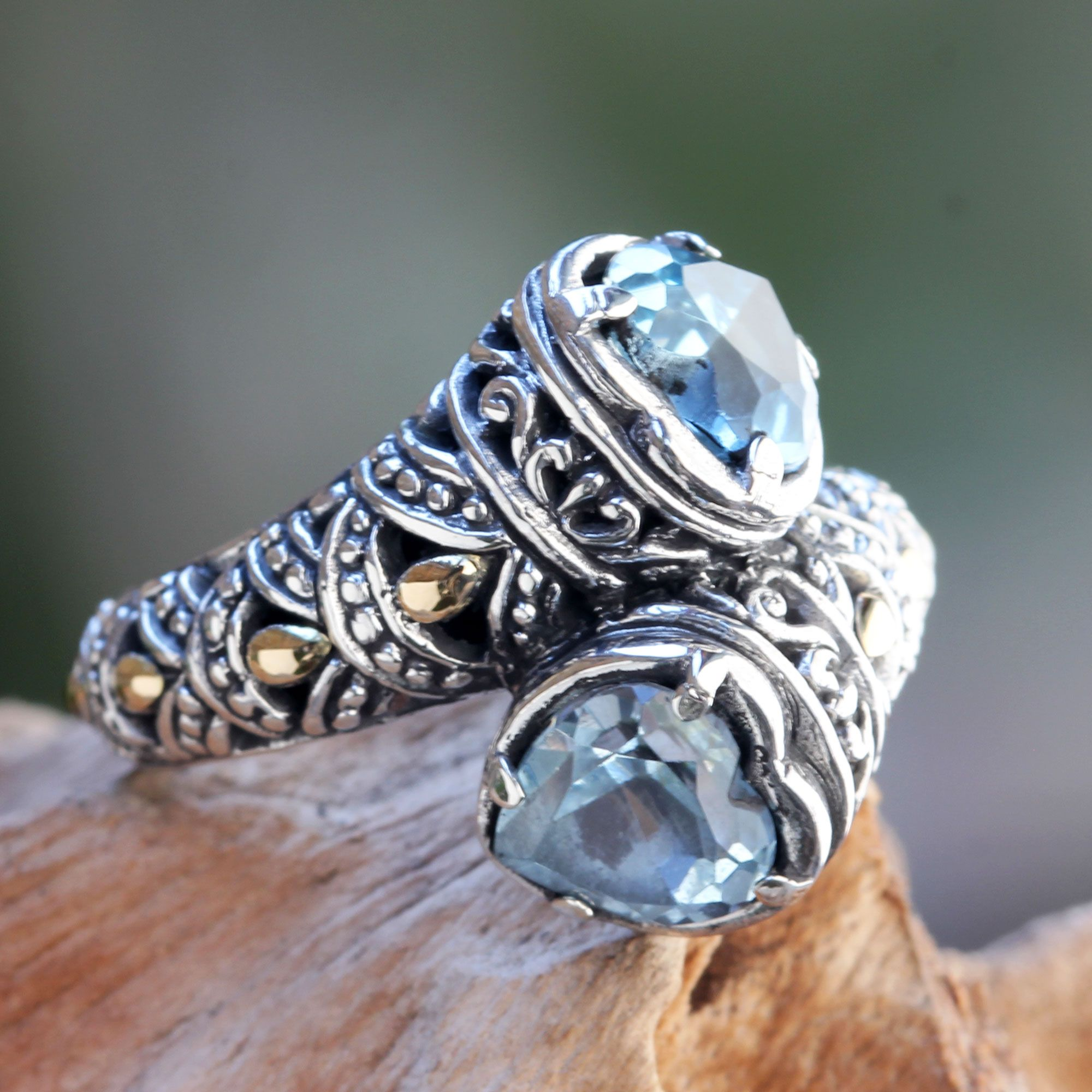 Blue Topaz On Sterling Silver Ring With Gold Plated