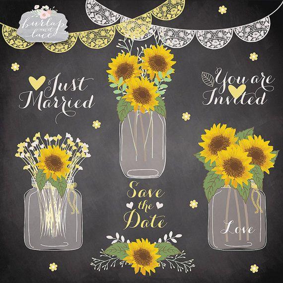 Sunflower wedding. Sun flowers clipart mason