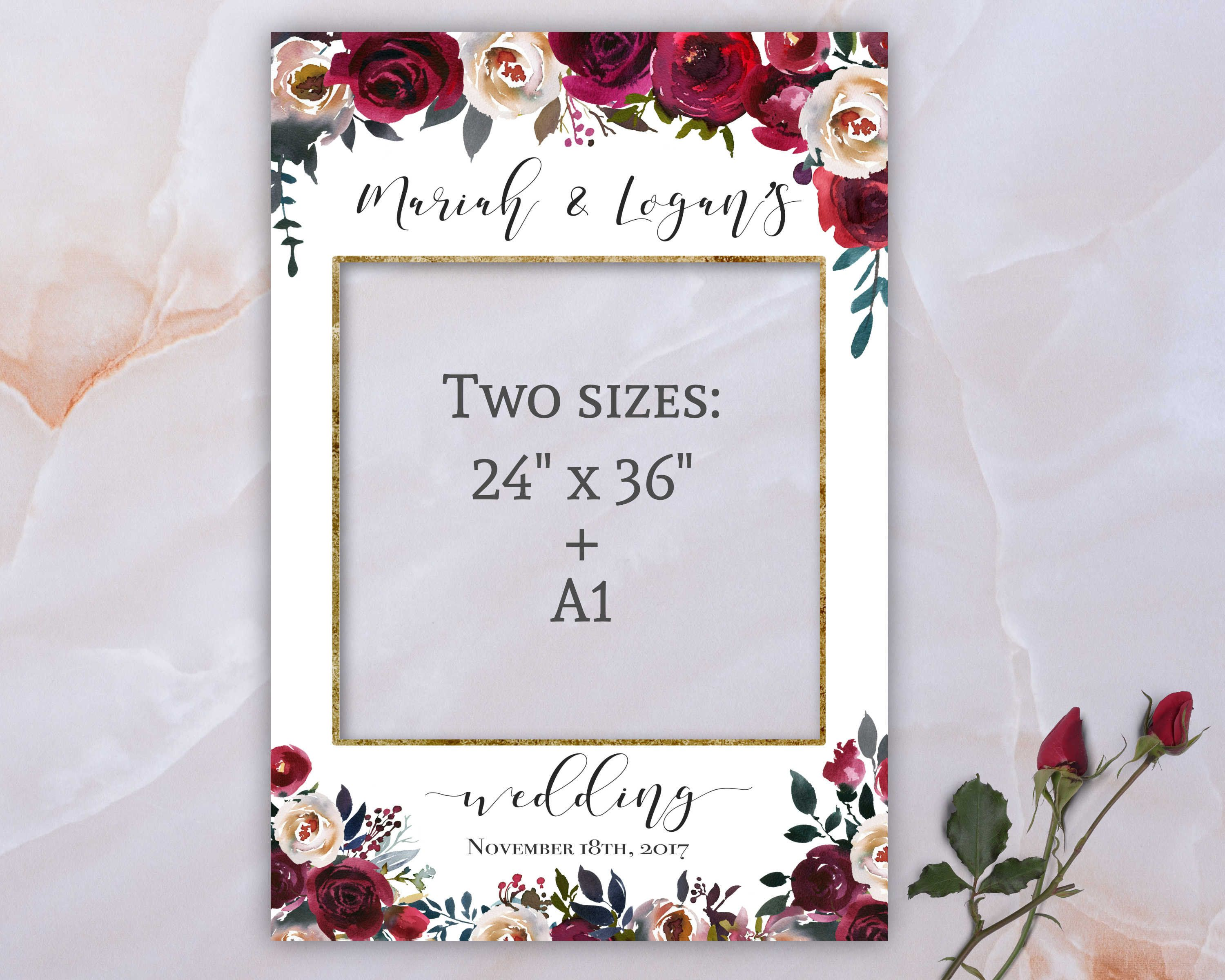 wedding photo booth frame editable photo frame printable burgundy pearl watercolor floral photo prop frame template mp04 photo frame prop wedding frames framed wedding photos photo frame prop wedding frames