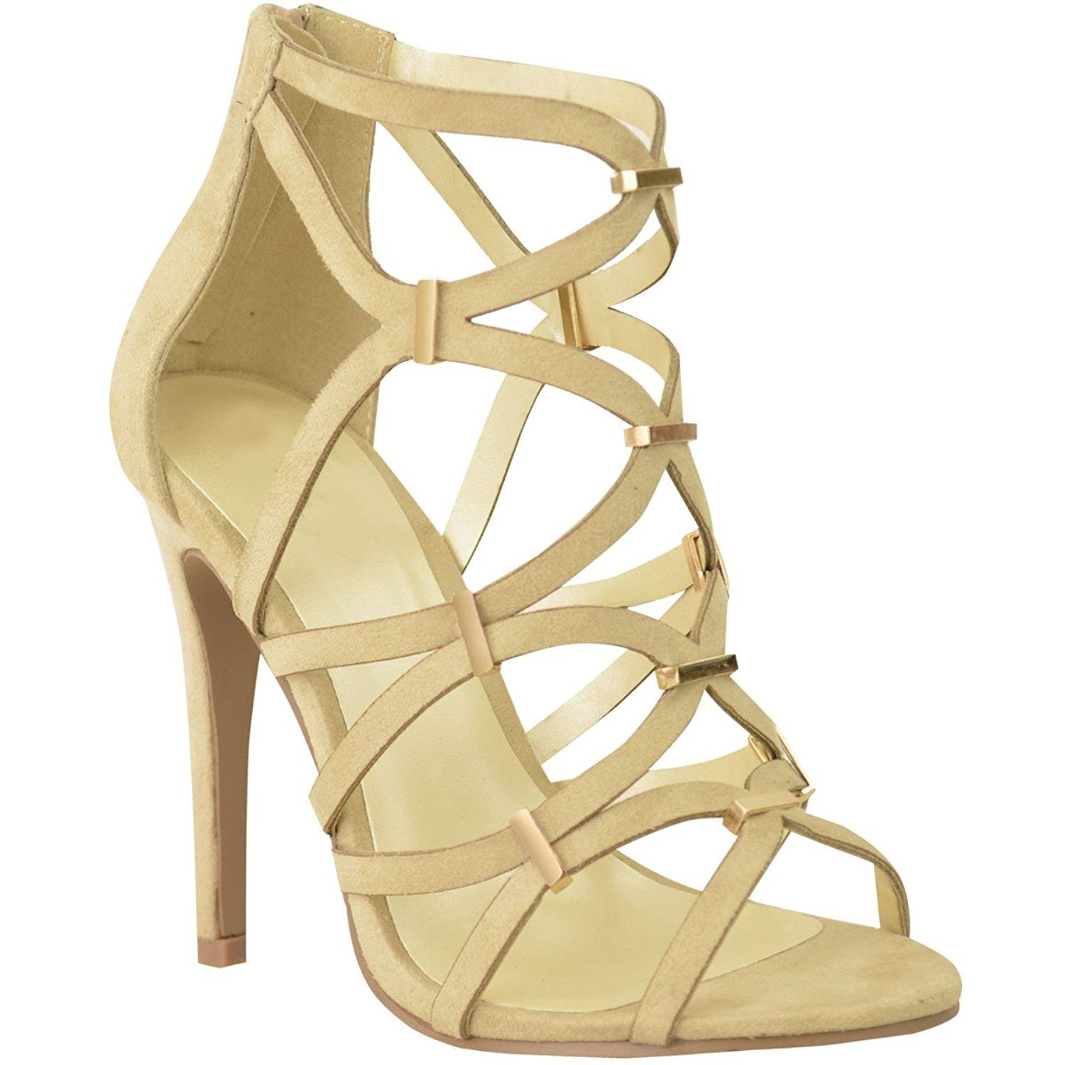 776d9ddeb4d Fashion Thirsty Womens High Heels Stilettos Cut Out Ankle Strappy Peep Toe  Gladiator Size   Want