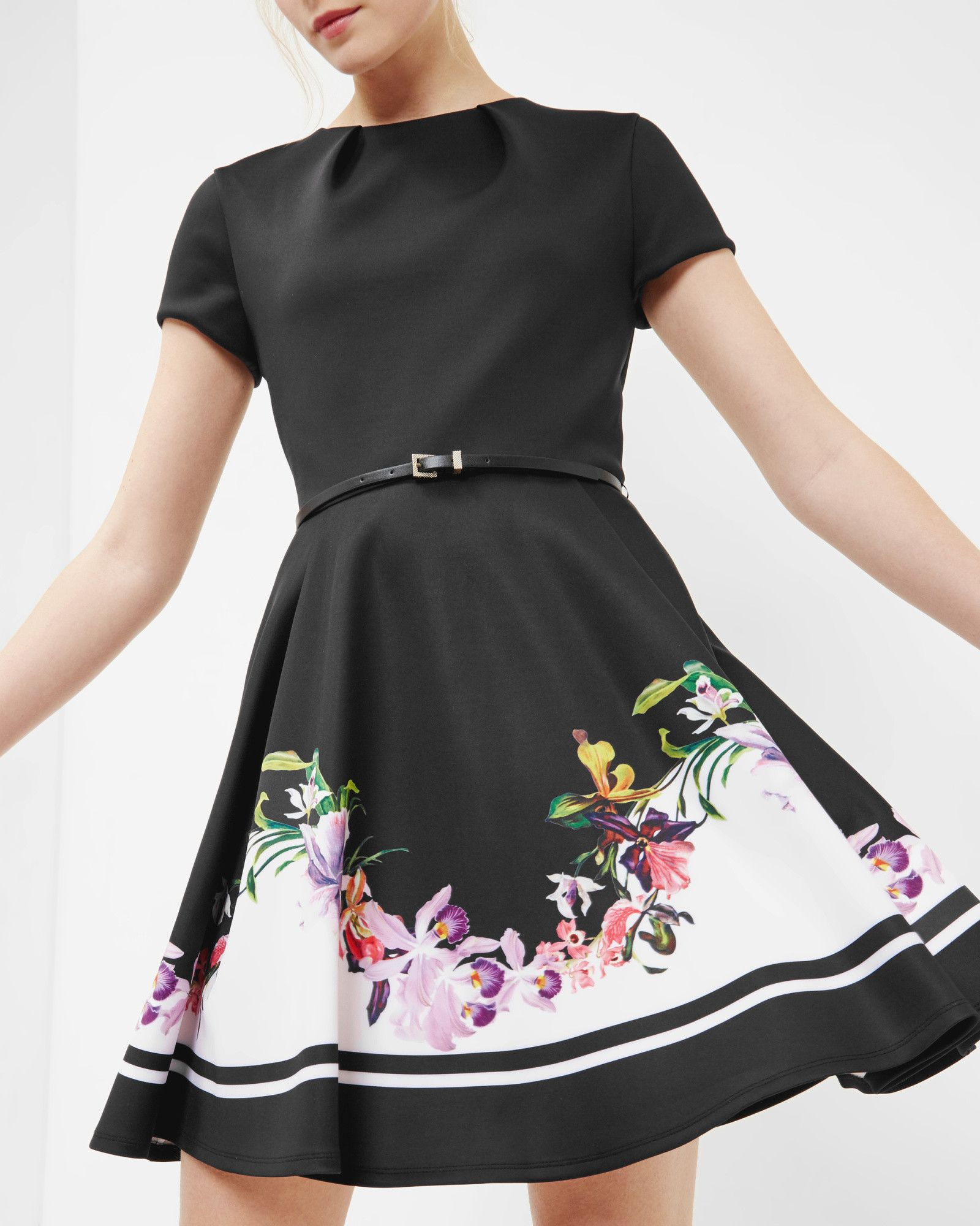 8c253daf1 Discover the latest women s clothing at Ted Baker. Lost Gardens skater dress  - Black