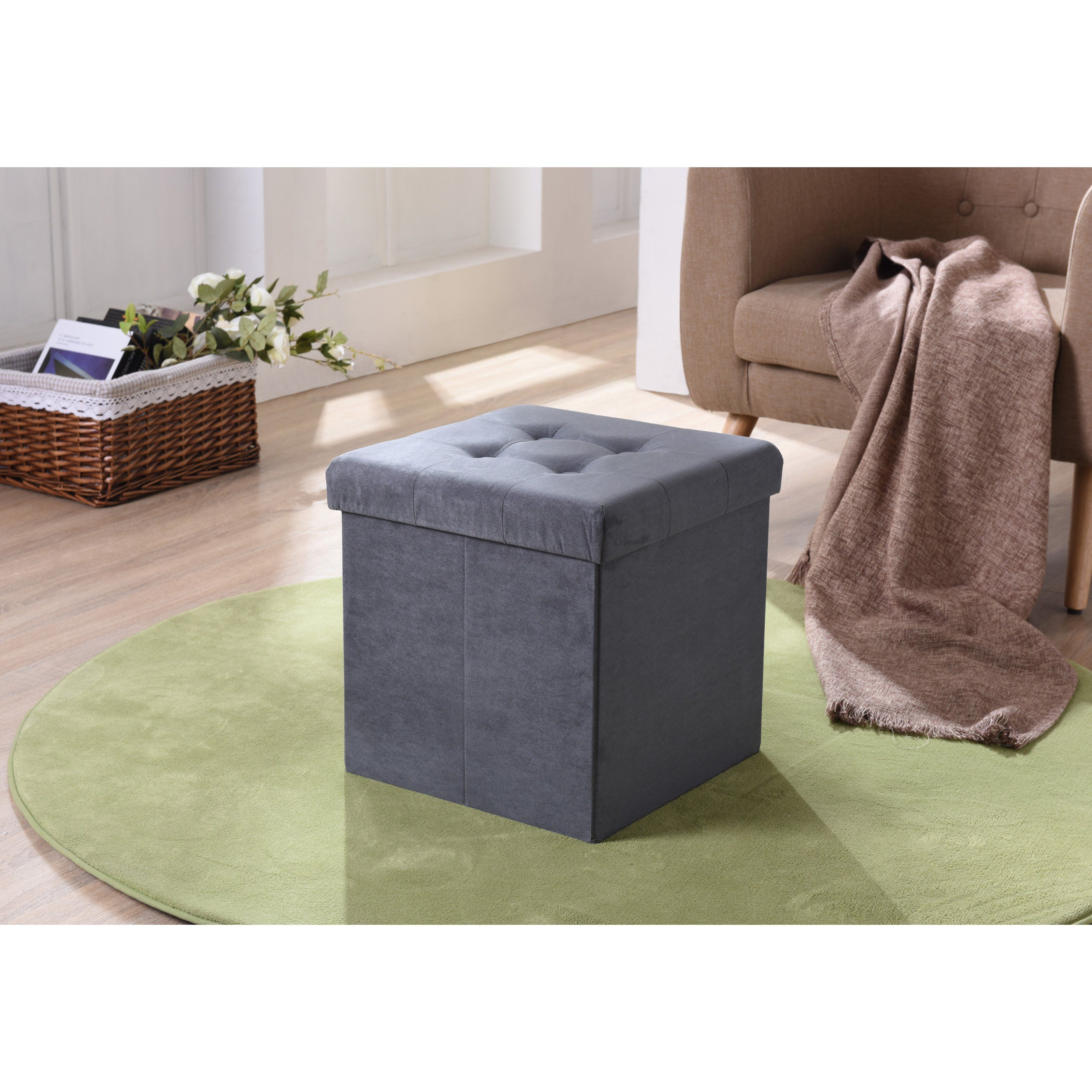 Magnificent Hodedah Imports Suede Foldable Storage Ottoman Hi1250 Grey Alphanode Cool Chair Designs And Ideas Alphanodeonline