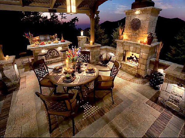 Gorgeous Backyard Tuscan Style Outdoor Fireplace Outdoor Living Patio
