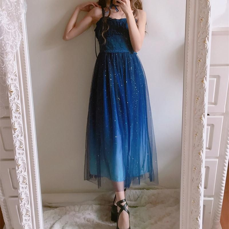 Normal Version Galaxy Blue Black Starry Fairy Dress