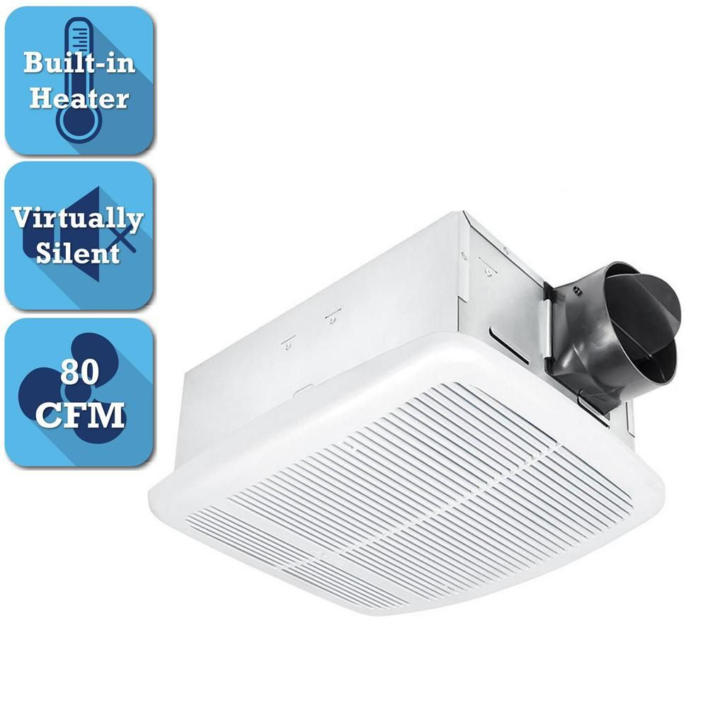 Delta Breez Radiance Series 80 Cfm Ceiling Bathroom Exhaust Fan With Light And Heater Rad80l Bathroom Exhaust Fan Bathroom Exhaust Exhaust Fan