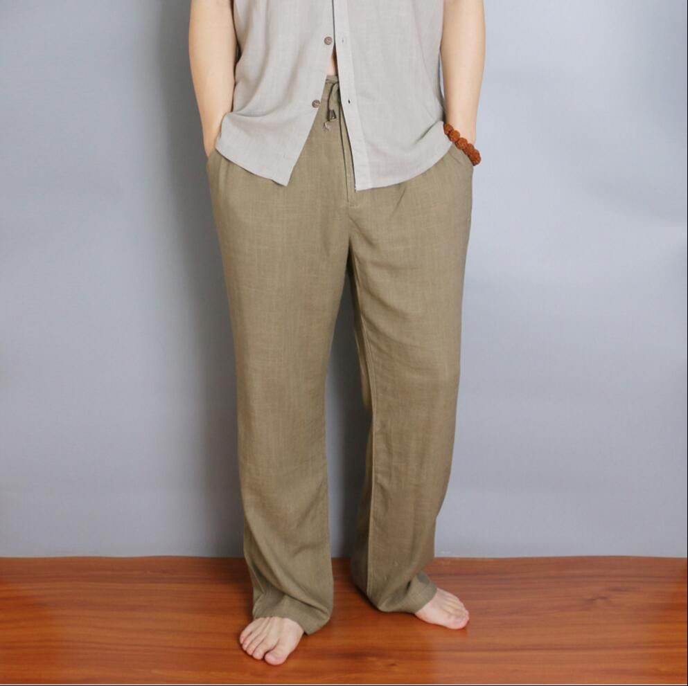 1060bffa4b12 M-5XL Spring and summer Natural cotton linen casual pants men straight  trousers fluid loose plus size pants vintage Beach pants