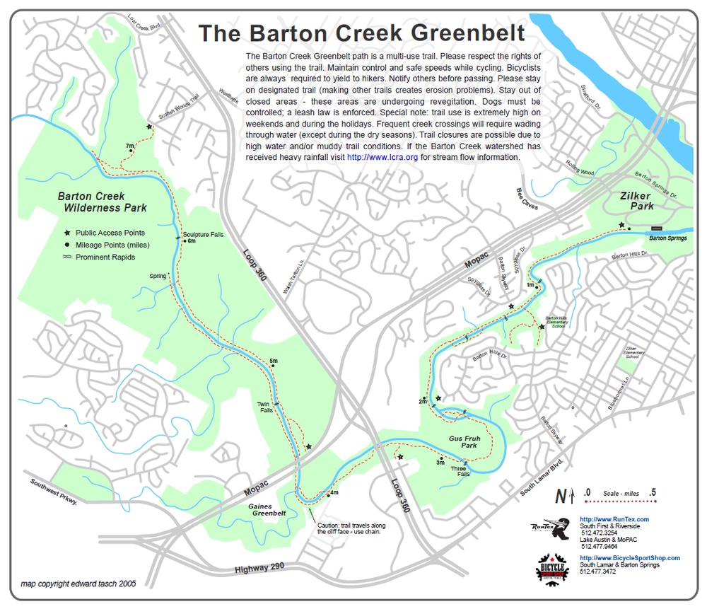 Barton Creek Greenbelt Austin TX United States Trail map Cool