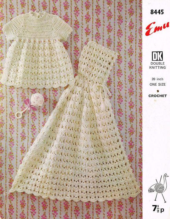 baby matinee dress and matching cape vintage crochet pattern PDF ...