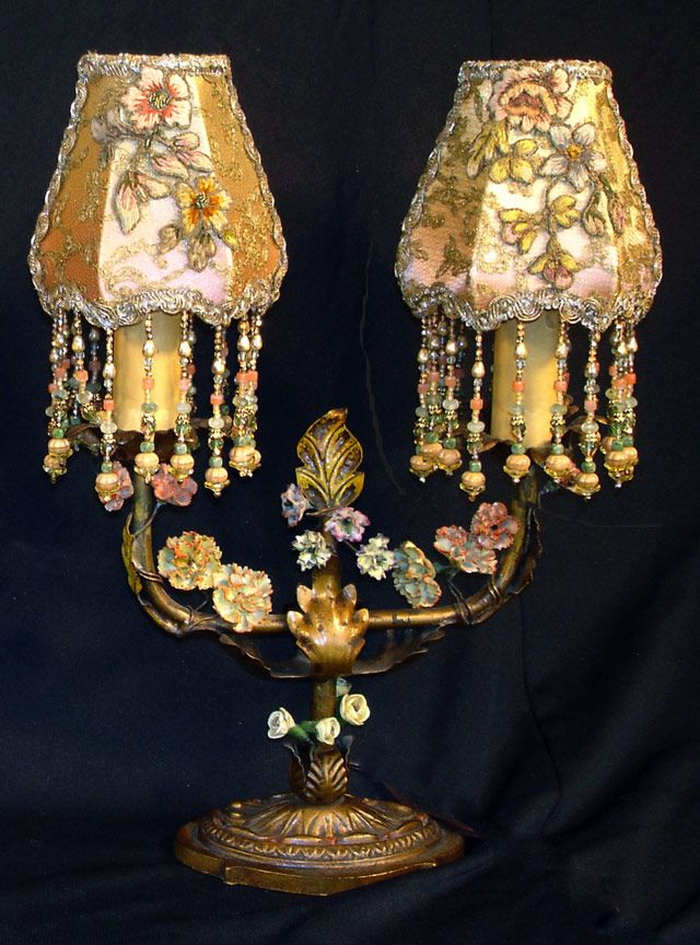 Beautiful Pair Of Double Arm Candelabra Lamps Adorned With