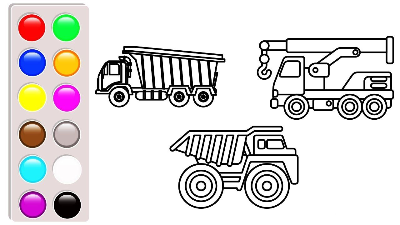 Dump Truck And Crane Truck Colouring Pages Construction Truck