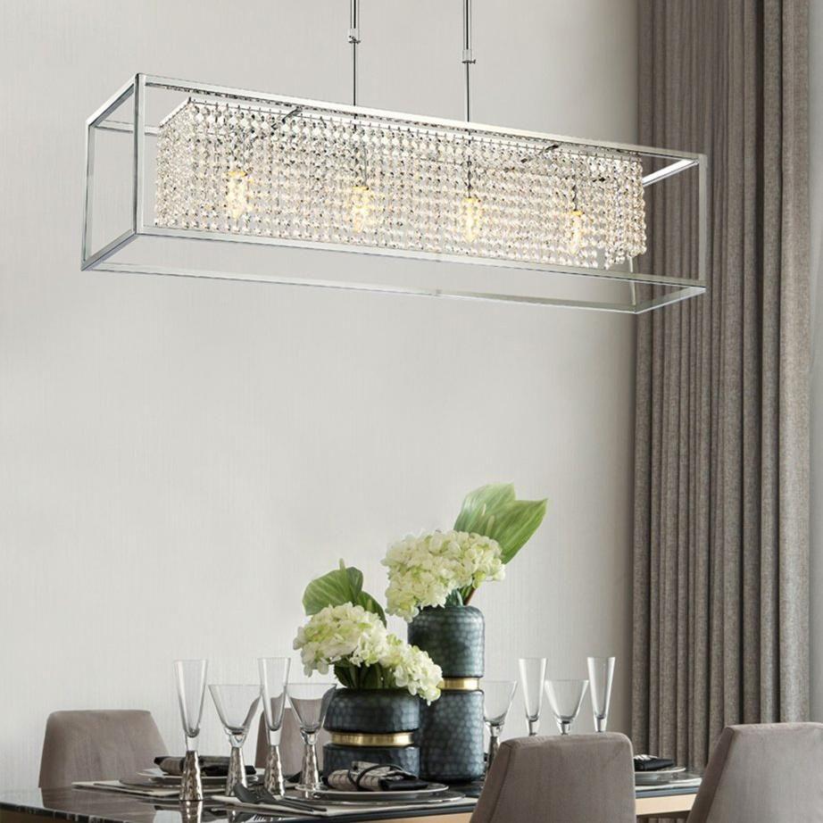 Modern Rectangular Chrome Frame Pendant Light Dining Table Pendant Light Frame Pendant Light Crystal Chandelier Dining Room