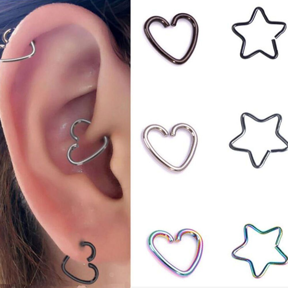 2pcs Surgical Steel Star Ring Piercing Hoop Helix Cartilage Tragus